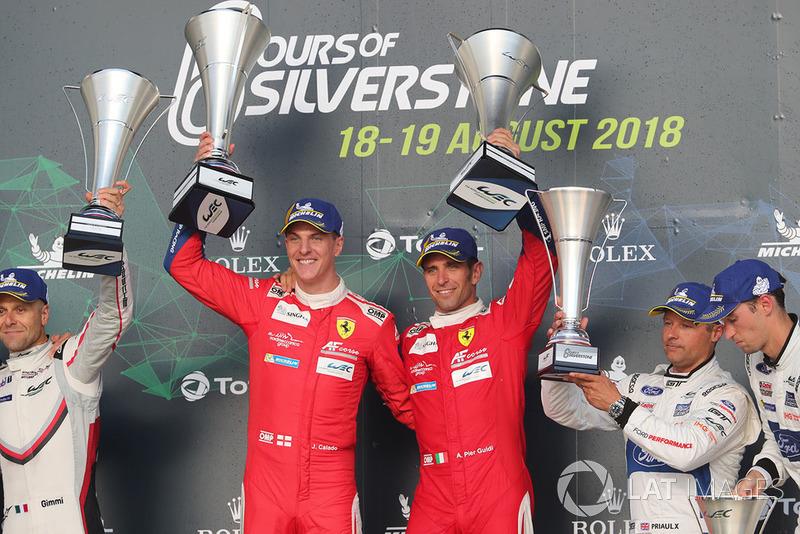 Podio GT Pro: i vincitori #51 AF Corse Ferrari 488 GTE EVO: Alessandro Pier Guidi, James Calado