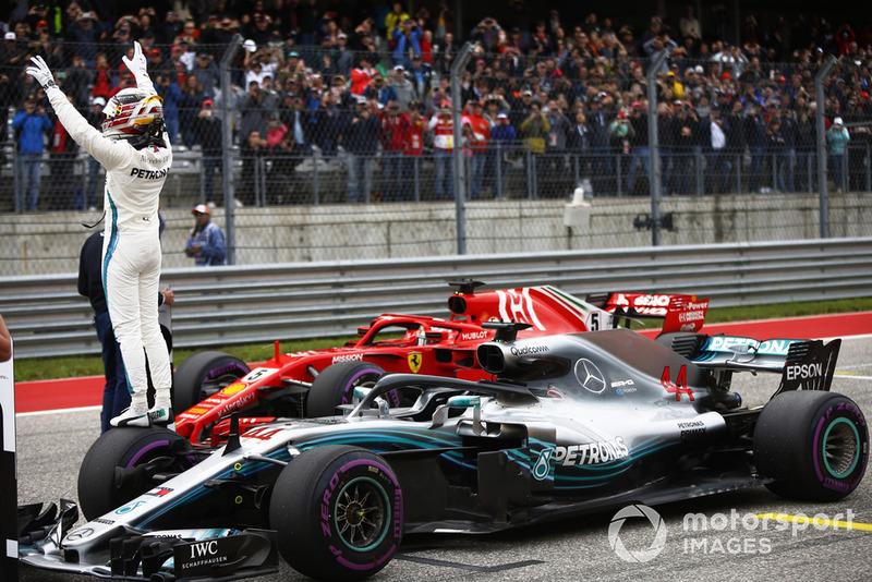 Lewis Hamilton, Mercedes AMG F1 W09 EQ Power+, celebrates after taking Pole Position