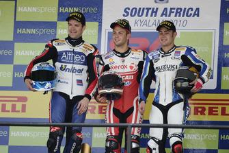 Podio: il vincitore Michel Fabrizio, Ducati Team, secondo Carlos Checa, Althea Racing, terzo Leon Haslam, Team Suzuki Alstare