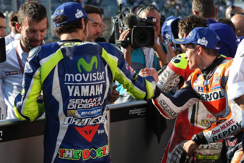 Polesitter Valentino Rossi, Yamaha Factory Racing, second place Marc Marquez, Repsol Honda Team