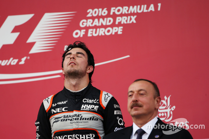 Sergio Pérez, Sahara Force India F1 en el podium