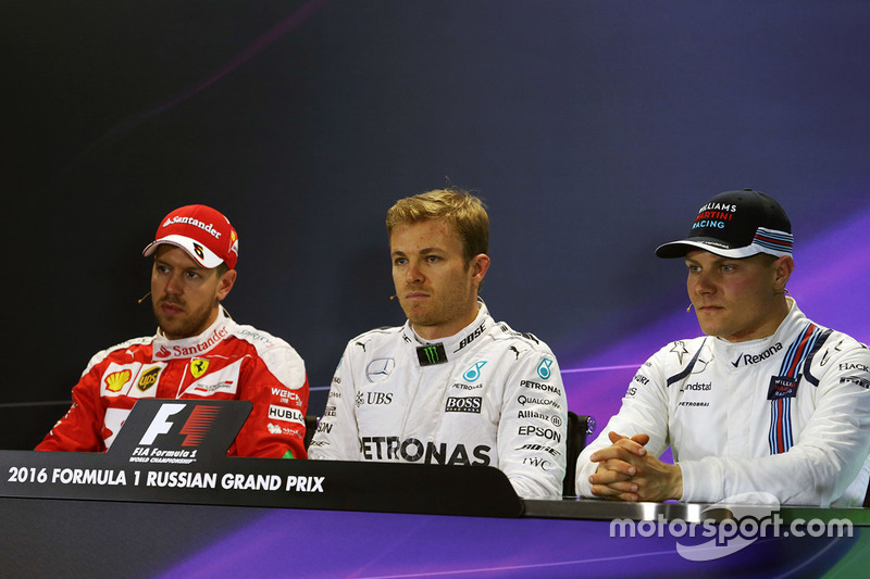 Press conference: Polesitter Nico Rosberg, Mercedes AMG F1 Team, second place Sebastian Vettel, Ferrari, third place Valtteri Bottas, Williams