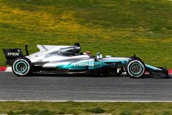 Lewis Hamilton, Mercedes AMG F1 W08 avec l'aileron de requin