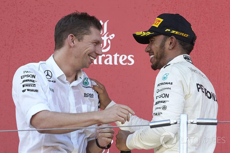 James Vowles, Chief Strategist, Mercedes AMG F1, Race winner Lewis Hamilton, Mercedes AMG F1, on the podium