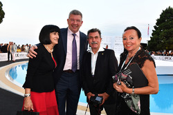 Ross Brawn, Formula One Managing Director of Motorsports and wife Rachel and Rainer Schlegelmich, F1