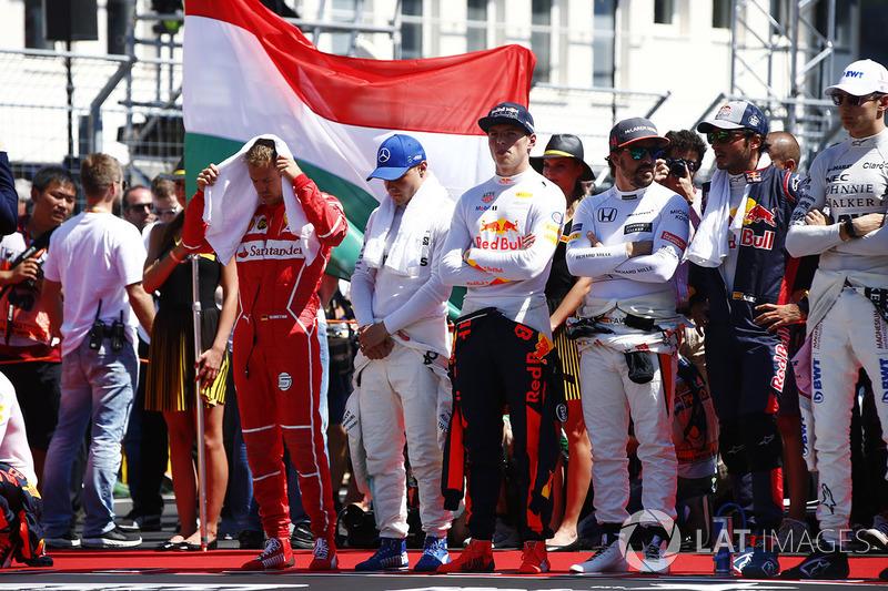 Sebastian Vettel, Ferrari, Valtteri Bottas, Mercedes AMG F1, Max Verstappen, Red Bull Racing, Fernando Alonso, McLaren, Carlos Sainz Jr., Scuderia Toro Rosso yEsteban Ocon, Force India