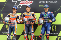 Podium: Race winner Marc Marquez, Repsol Honda Team, second place Dani Pedrosa, Repsol Honda Team, third place Maverick Viñales, Yamaha Factory Racing