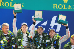 Podium: race winners Timo Bernhard, Earl Bamber, Brendon Hartley, Porsche Team