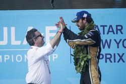 Alejandro Agag, CEO, Formula E, Jean-Eric Vergne, Techeetah, celebrate on the podium
