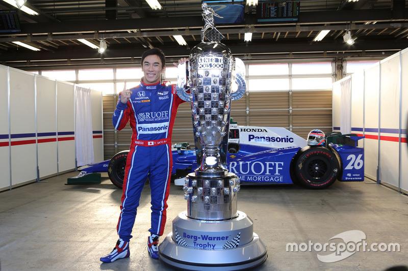 Takuma Sato with Warner Borg Trophy