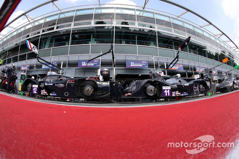 #12 Eurointernational Ligier JS P3 - Nissan: Andrea Dromedari, Maxwell Hanratty, Mark Kvamme, #11 Eurointernational Ligier JS P3 - Nissan: Giorgio Mondini, Kay Van Berlo