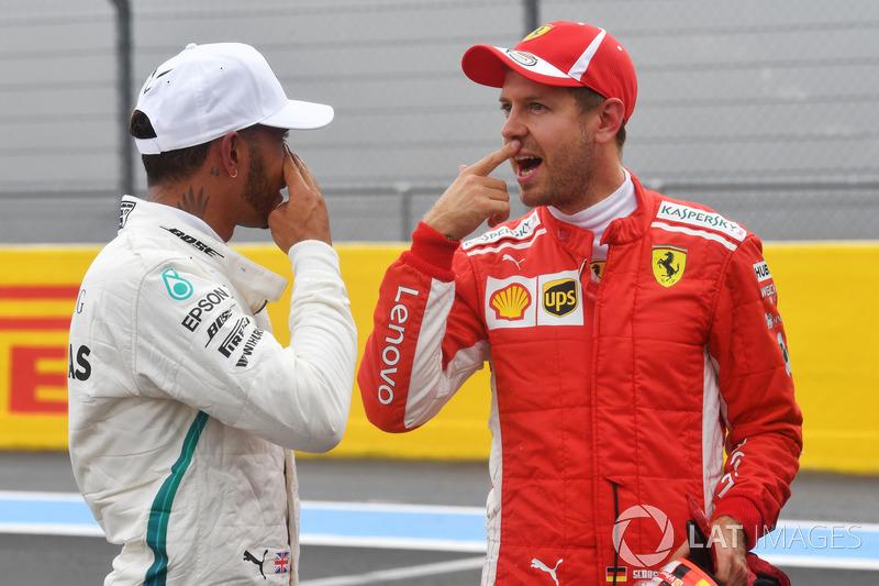 Lewis Hamilton, Mercedes-AMG F1 and Sebastian Vettel, Ferrari in parc ferme
