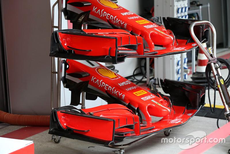 Comparación de los alerones delanteros del Ferrari SF71H