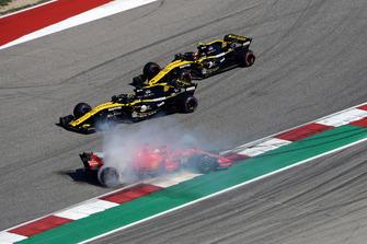 Sebastian Vettel, Ferrari SF71H spins after contact with Daniel Ricciardo, Red Bull Racing RB14