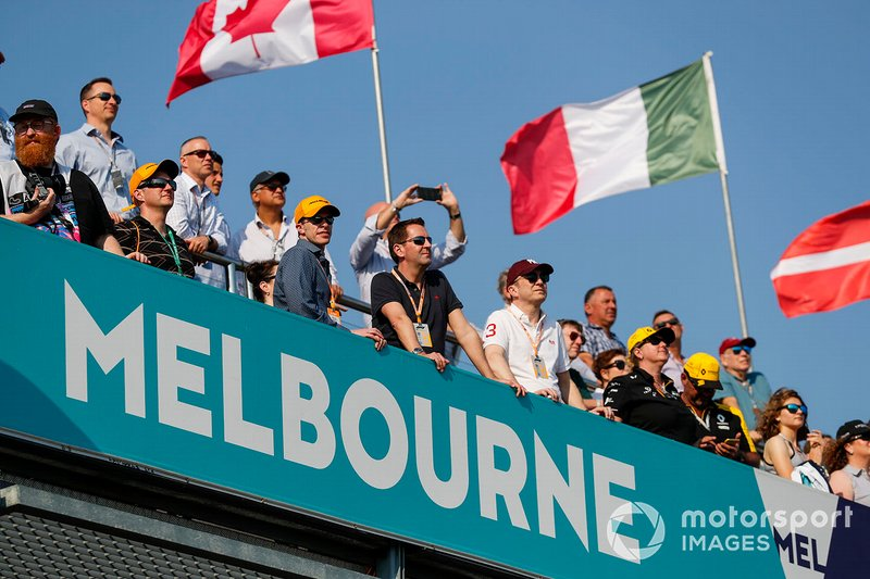 Fans watch the action