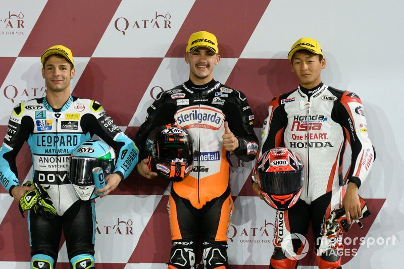 Top 3 después de la calificación Lorenzo Dalla Porta, Leopard Racing, Aron Canet, Max Racing Team, Kaito Toba, Honda Team Asia
