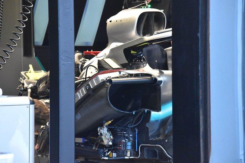 Vue détaillée du moteur de la Mercedes W10