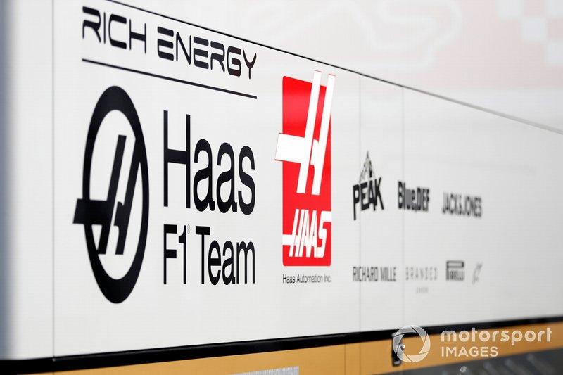Haas F1 trucks and logos