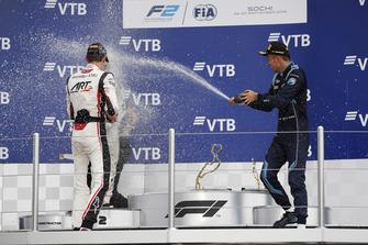 Podium: race winner George Russell, ART Grand Prix, second place Sergio Sette Camara, Carlin, third place Alexander Albon, DAMS