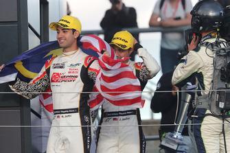 Podium LMP2: second place #37 Jackie Chan DC Racing Oreca 07 Gibson: Jazeman Jaafar, Weiron Tan, Nabil Jeffri