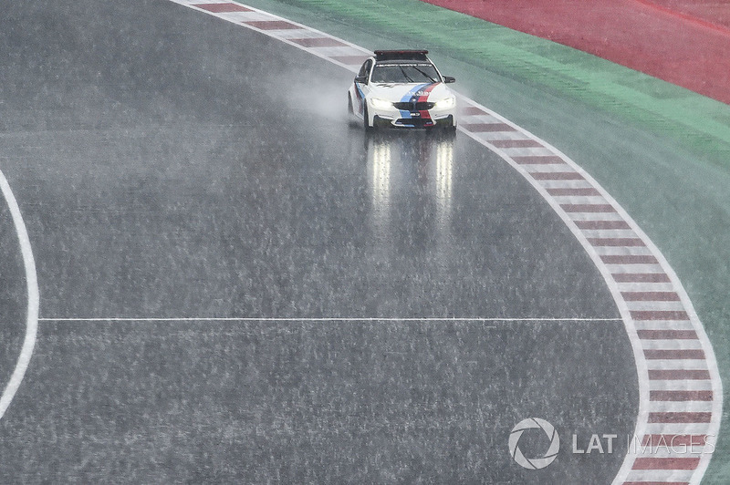 BMW Safety car checking the track during downpour