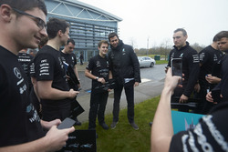 Toto Wolff, Executive Director Mercedes AMG F1 with team members