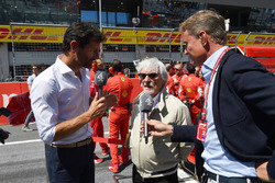 Bernie Ecclestone, talks with David Coulthard, Channel 4 F1 and Mark Webber, on the grid