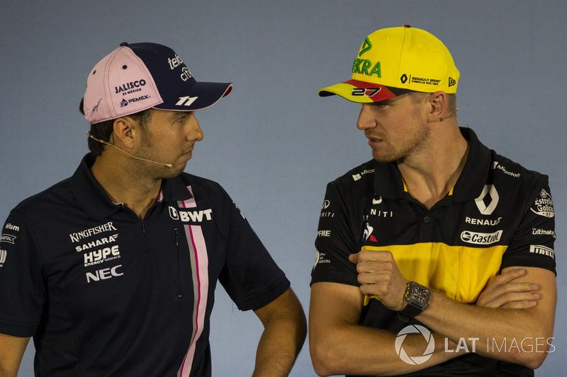 Sergio Perez, Force India y Nico Hulkenberg, Renault Sport F1 Team en rueda de prensa