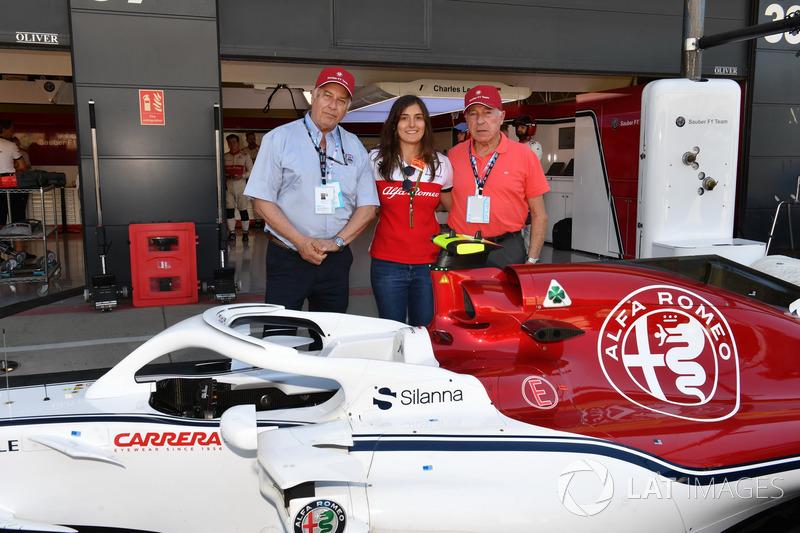 Tatiana Calderon, pilote d'essais de Sauber avec Oscar Fangio, et Ruben Fangio
