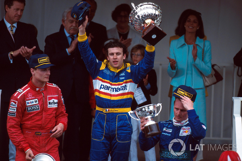 David Coulthard, Olivier Panis and Johnny Herbert on the 1996 Monaco podium