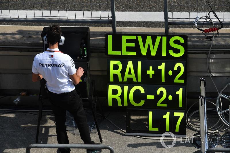Pit board for Lewis Hamilton, Mercedes-AMG F1