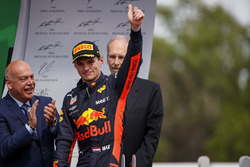 Max Verstappen, Red Bull Racing, 3rd position, arrives on the podium