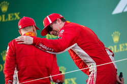 Race winner Sebastian Vettel, Ferrari and Kimi Raikkonen, Ferrari celebrate on the podium