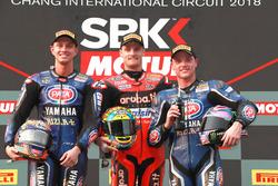Podium: second place Michael van der Mark, Pata Yamaha, Race winner Chaz Davies, Aruba.it Racing-Duc