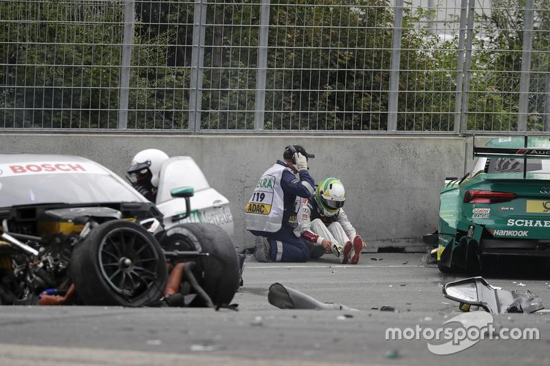 4. Mike Rockenfeller, Audi Sport Team Phoenix, Audi RS 5 DTM after the crash