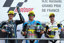Podio: il secondo classificato Francesco Bagnaia, Sky Racing Team VR46, il vincitore Franco Morbidelli, Marc VDS, il terzo classificato Thomas Luthi, CarXpert Interwetten