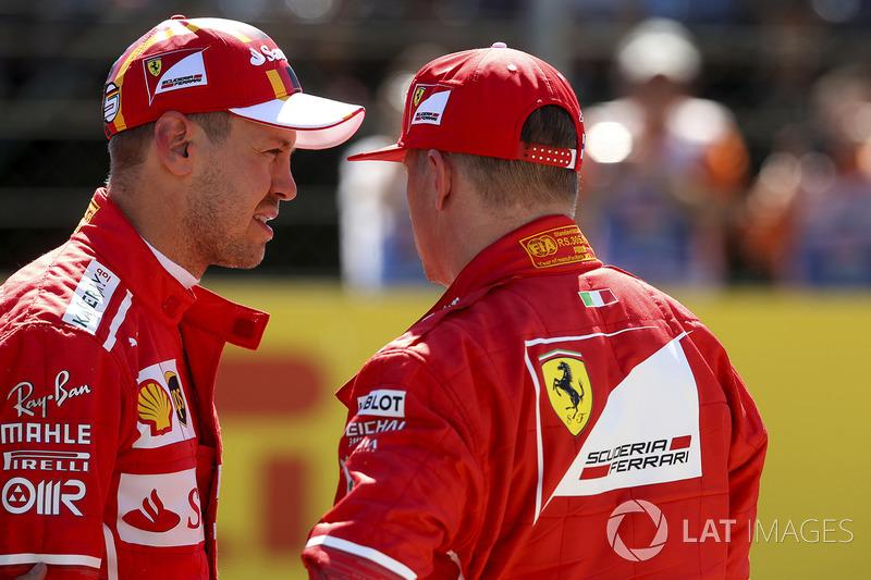 Polesitter Sebastian Vettel, Ferrari; 2. Kimi Raikkonen, Ferrari