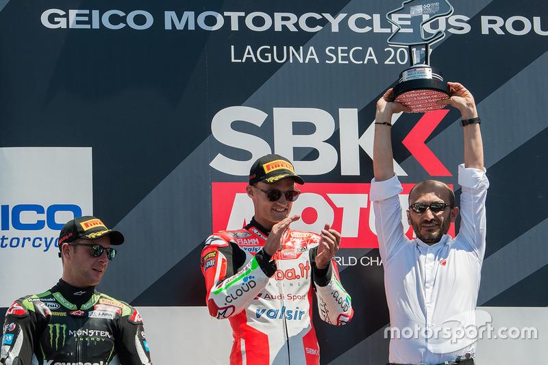 Podium: winner Chaz Davies, Ducati Team, second place Jonathan Rea, Kawasaki Racing