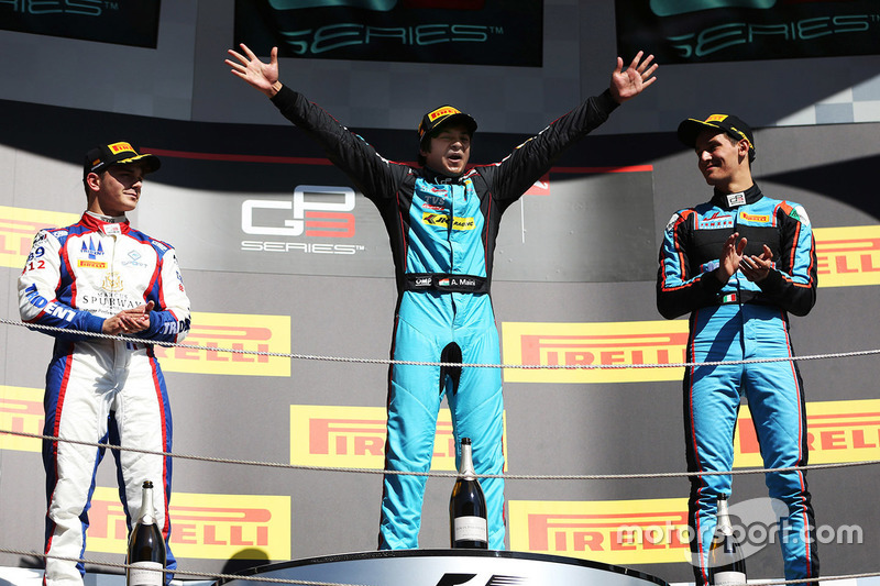 Podium: race winner Race winner Arjun Maini, Jenzer Motorsport, second place Dorian Boccolacci, Trident, third place Alessio Lorandi, Jenzer Motorsport