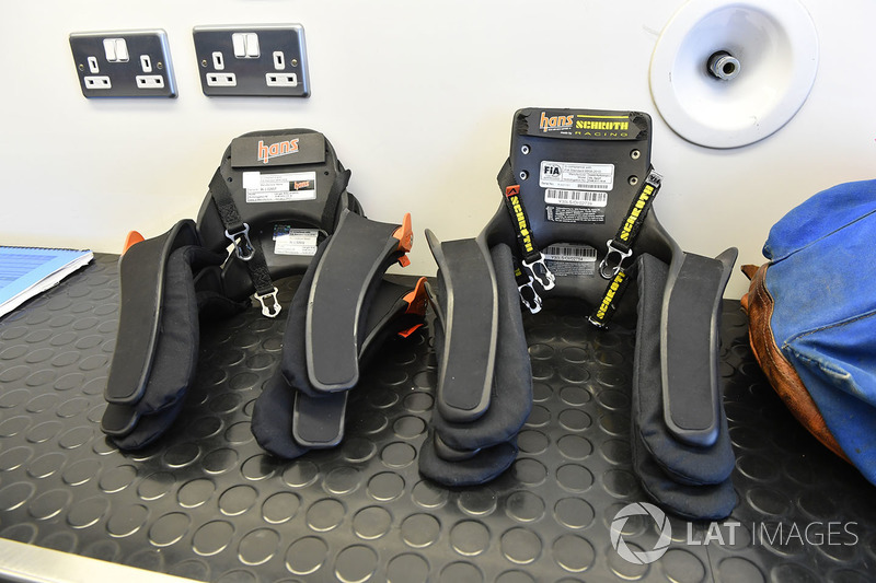 Hans devices in the F1 Experiences garage
