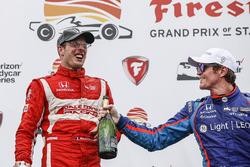 Podium: ganador, Sébastien Bourdais, Dale Coyne Racing Honda, tercero, Scott Dixon, Chip Ganassi Racing Honda, champagne