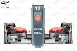 Sauber C32 nose design, top view