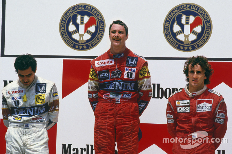 Podium : le vainqueur Nigel Mansell, Williams Honda, le second Nelson Piquet, Williams Honda, le troisième Alain Prost, McLaren TAG Porsche