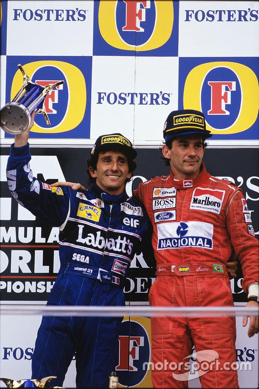 Podium : le vainqueur Ayrton Senna, McLaren; le second Alain Prost, Williams