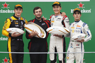 Podium: race winner George Russell, ART Grand Prix, second place Artem Markelov, RUSSIAN TIME. third place Sergio Sette Camara, Carlin