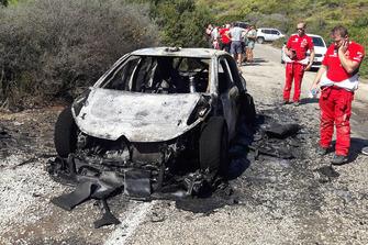Обгоревший остов Citroën C3 WRC Крейга Брина, Citroën World Rally Team