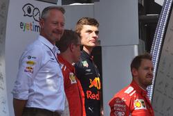 Podium: race winner Max Verstappen, Red Bull Racing, second place Kimi Raikkonen, Ferrari, third place Sebastian Vettel, Ferrari, Jonathan Wheatley, Red Bull Racing Team Manager