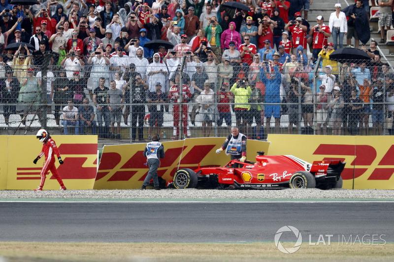 Sebastian Vettel; Ferrari SF71H tersingkir