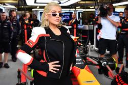 Christina Aguilera, in the Red Bull Racing garage