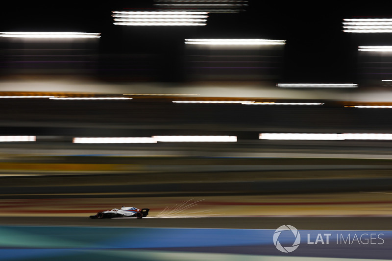 Lance Stroll, Williams FW41 Mercedes, strikes up sparks